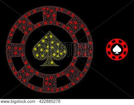 Illuminated Net Spades Casino Chip With Glowing Spots. Vector Frame Generated From Spades Casino Chi