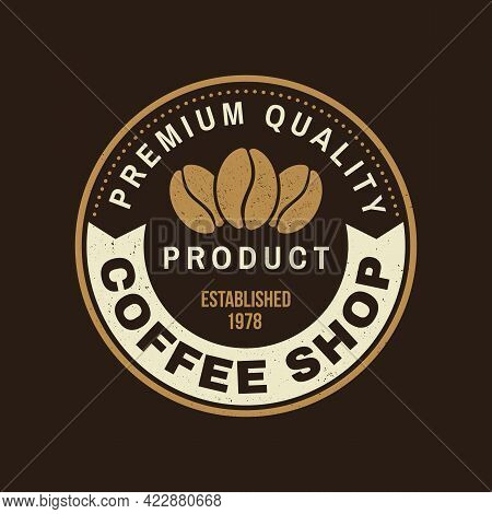 Coffe Shop Logo, Badge Template. Vector . Typography Design With Coffee Bean Silhouette. Template Fo
