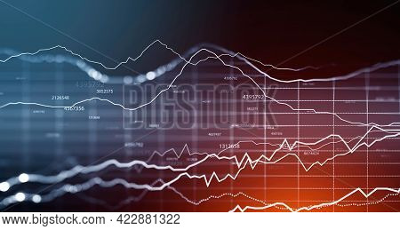 Immersive Hud Interface Blurry, Focused Stock Market Analytics Graphs Investment, Financial Manageme