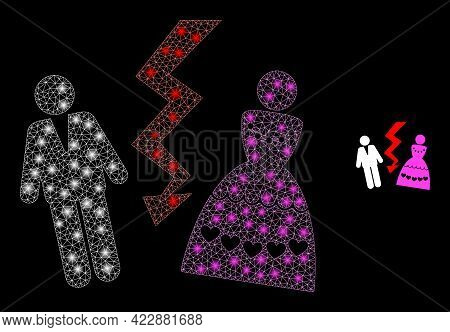 Constellation Mesh Divorce Persons With Lightspots. Vector Constellation Based On Divorce Persons Ic