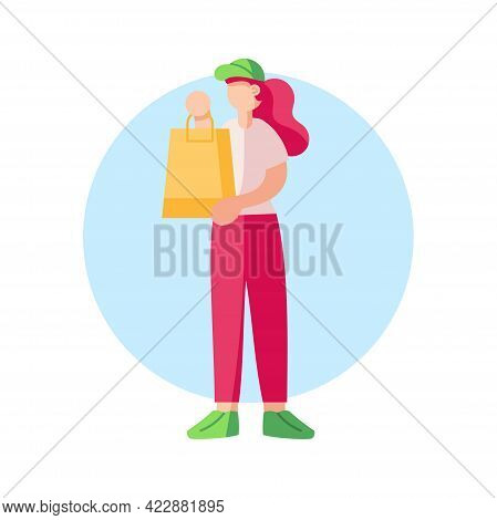 Isolated Delivery Girl With A Package Vector Illustration