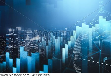 Digital Hud Financial Graph Interface In Blurry Night City. Stylish Background. Concept Of Stock Exc