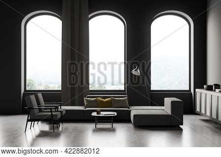 Modern Living Room Interior With Seats And Couch, Coffee Table And Commode With Books And Decoration