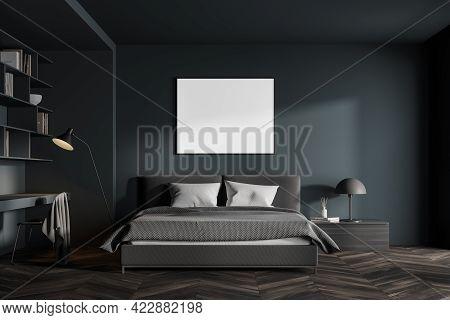 Interior Of Modern Scandinavian Style Bedroom With Dark Grey Walls, Wooden Floor, Comfortable King S