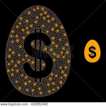 Constellation Mesh Dollar Deposit Egg With Light Spots. Vector Constellation Generated From Dollar D