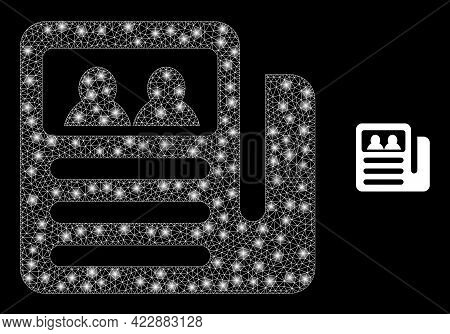 Constellation Mesh Newspaper With Glowing Spots. Vector Constellation Based On Newspaper Icon. Illum