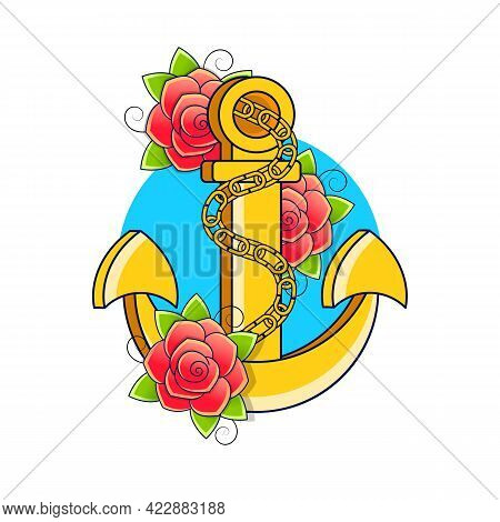 Two Colors Flat Style Ship Anchor Logo Isolated On White Background. Flat Ship Anchor Logo Vector