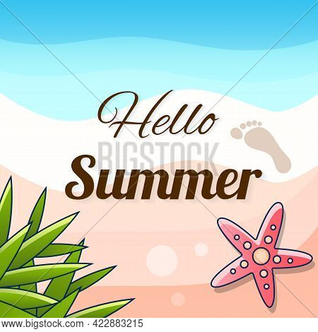 Hello Summer Background. Tropical Palm Leaves Illustration