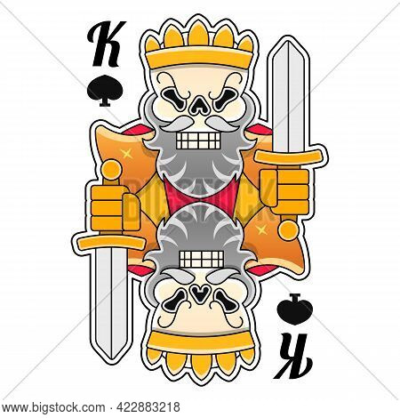 King Crown Vector Illustration Hand Drawn White