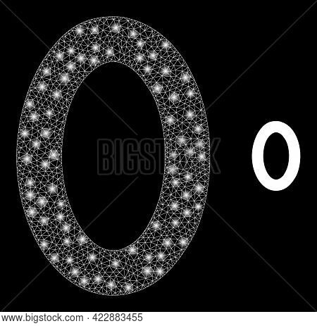 Bright Network Digit Zero With Glowing Spots. Vector Constellation Based On Digit Zero Icon. Constel