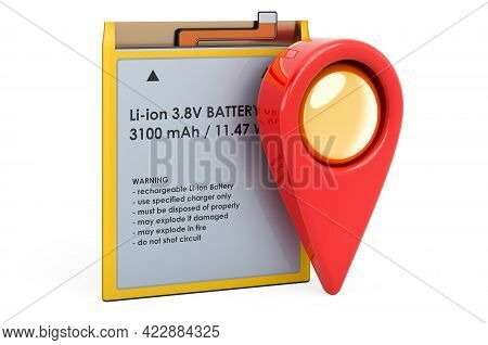 Lithium Ion Cell Phone Battery With Map Pointer, 3d Rendering Isolated On White Background