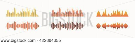 Sound Wave, Equalizer Sound Track. Set Of Vector Isolated Elements. Visual Audio Player.