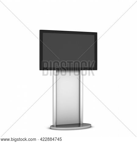Blank Stand With Plasma Mockup. 3d Illustration Isolated On White Background. Interactive Display, I