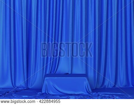 Cube Covered With Draped Cloth. Minimal Scene. 3d Illustration. Showcase For Your Products