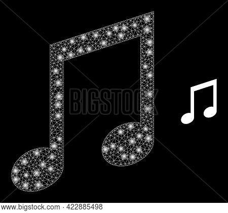 Illuminated Mesh Music Notes With Lightspots. Vector Frame Based On Music Notes Icon. Illuminated Fr