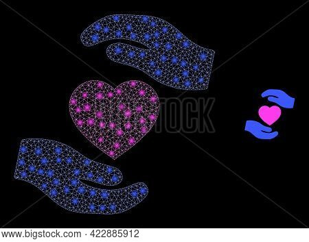 Sparkle Net Favourite Heart Care Hands With Glowing Spots. Vector Frame Based On Favourite Heart Car