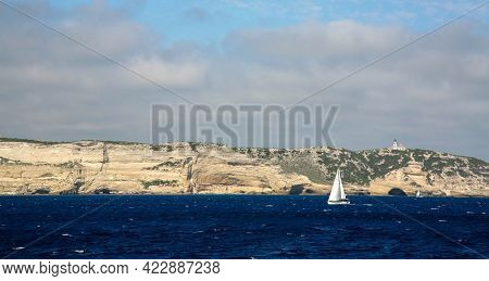 Strait Of Bonifacio As Seen From The Corsican Coast In France