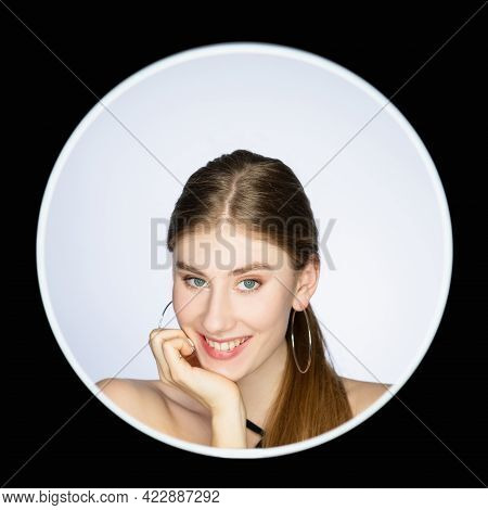 Smiling Face. Positive Emotion. Feminine Beauty. Headshot Portrait Of Happy Shy Woman With Natural M