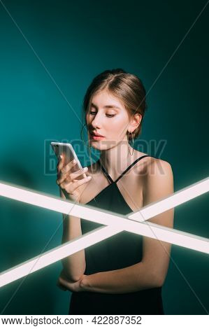 Digital People. Online Communication. Mobile Application. Modern Technology. Curious Woman Using Pho