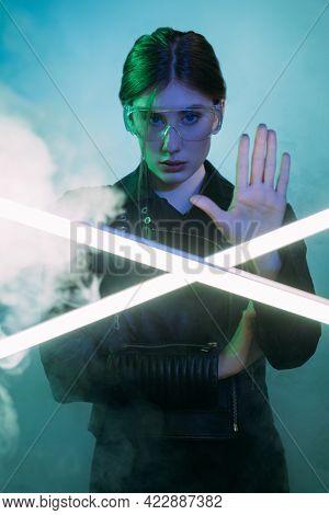 Stop Smog. Cyberpunk People. Air Pollution. Environmental Protest. Blue Green Neon Color Light Confi