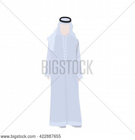 Vector Stock Illustration Arab  Man In The Traditional Muslim Arabic Clothing In Flat Style. Muslim,