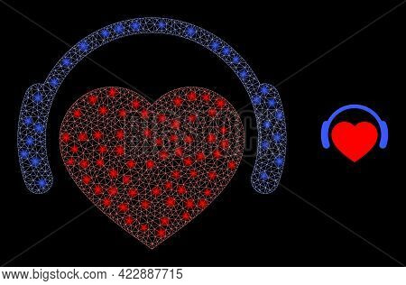 Constellation Mesh Romantic Heart Dj With Glowing Spots. Vector Constellation Created From Romantic