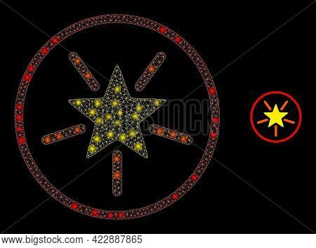 Glossy Mesh Rounded Shine Star With Glowing Spots. Vector Model Created From Rounded Shine Star Icon