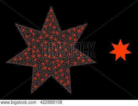 Flare Mesh Seven Pointed Star With Lightspots. Vector Frame Generated From Seven Pointed Star Icon.