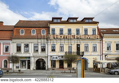 Targu Mures, Mures, Romania - April 24, 2021: View Of  Hotel Premier Located In Central Zone On Apri