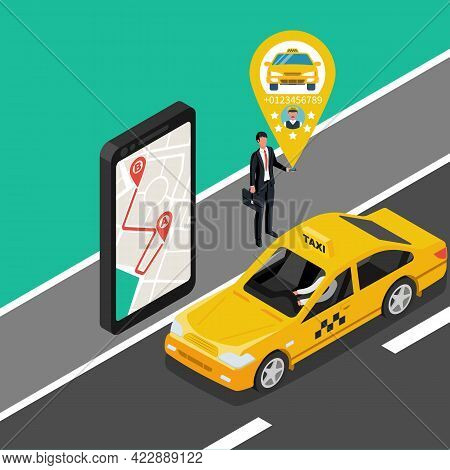 A Man With A Smartphone Call A Taxi. Mobile Phone In Hand. Car Taxi On The Screen. People Delivery S