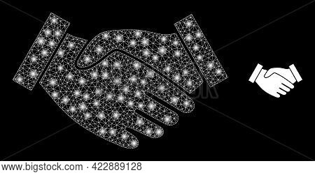 Illuminated Net Hand Take With Glowing Spots. Vector Frame Based On Hand Take Icon. Glossy Frame Pol