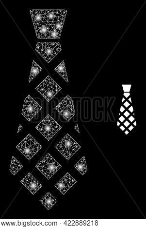 Glossy Mesh Checkered Tie With Glowing Spots. Vector Grid Generated From Checkered Tie Icon. Glowing