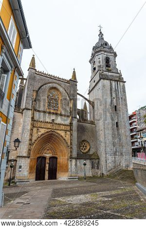 Cathedral Of The Municipality Of Lekeitio, Bay Of Biscay In The Cantabrian Sea. Basque Country