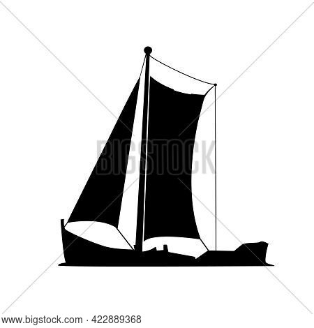 Sailboat Silhouette Isolated On White Background. Yacht Icon. Small Boat With Sail. Sailing Ship Sym