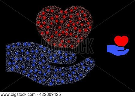 Glowing Network Romantic Heart Offer Hand With Glowing Spots. Vector Carcass Based On Romantic Heart