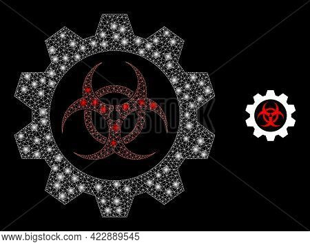 Sparkle Mesh Toxic Industry With Lightspots. Vector Frame Based On Toxic Industry Icon. Bright Frame