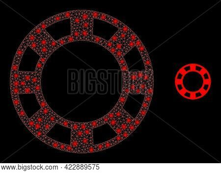 Glowing Net Casino Chip With Glowing Spots. Vector Constellation Created From Casino Chip Icon. Glow