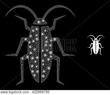Constellation Mesh Cockroach With Light Spots. Vector Frame Based On Cockroach Icon. Glowing Frame M