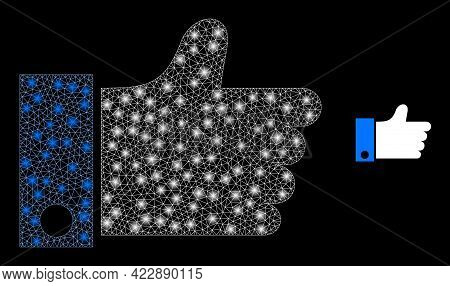 Flare Mesh Thumb Up With Light Spots. Vector Carcass Created From Thumb Up Icon. Flare Frame Mesh Th