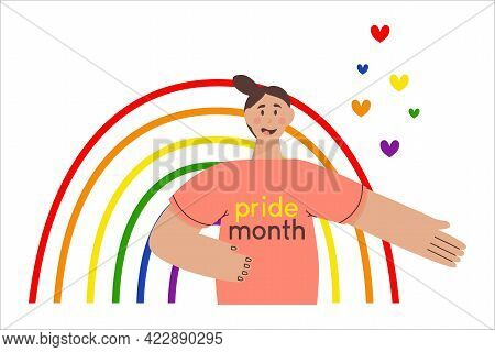 Month The Parade. Girl On A Rainbow Background In Lgbt Colors. Flat Vector Illustration. Lesbian Gay