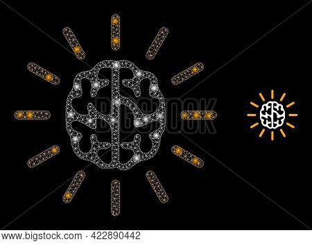 Glossy Net Mind Light With Glowing Spots. Vector Constellation Based On Mind Light Icon. Constellati