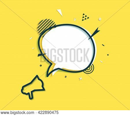 White Speech Bubble And Outline Black Megaphone In Paper Cut Art. Memphis Style Banner With Geometri