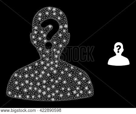Constellation Mesh Unknown Body With Glowing Spots. Vector Constellation Based On Unknown Body Icon.