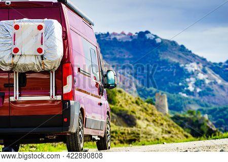 Camper Van On Spanish Coast, Seaside Cliffs Of Maro Cerro Gordo. Costa Del Sol, Andalusia Spain. Vis