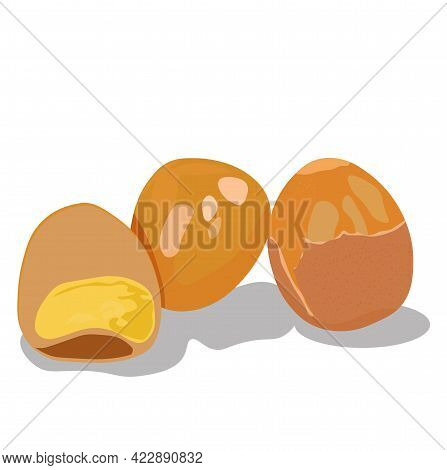 Vector And Illustration Of Pickled Eggs. Close-up Of A Whole Egg, Half With The White And Yolk. Deli
