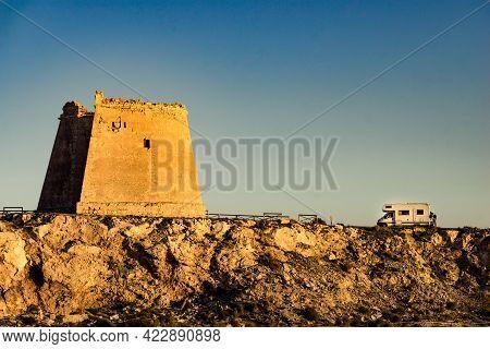 Rv Caravan At Mesa Roldan Tower. Visiting Cabo De Gata Nijar Natural Park In Almeria Province, Andal