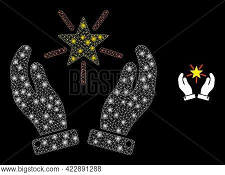 Glowing Mesh Shine Star Care Hands With Glowing Spots. Vector Constellation Based On Shine Star Care