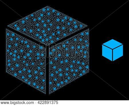 Flare Mesh Sugar Cube With Lightspots. Vector Constellation Based On Sugar Cube Icon. Flare Carcass