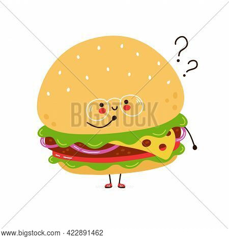 Cute Funny Burger In Glasses Character With Question Marks. Vector Hand Drawn Cartoon Kawaii Charact