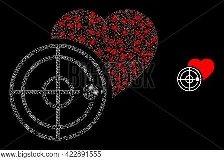 Illuminated Mesh Love Heart Radar With Lightspots. Vector Carcass Generated From Love Heart Radar Ic